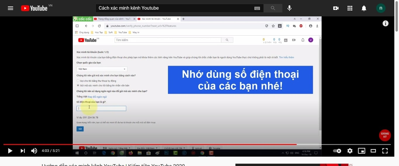 Hướng dẫn cách xác minh kênh Youtube
